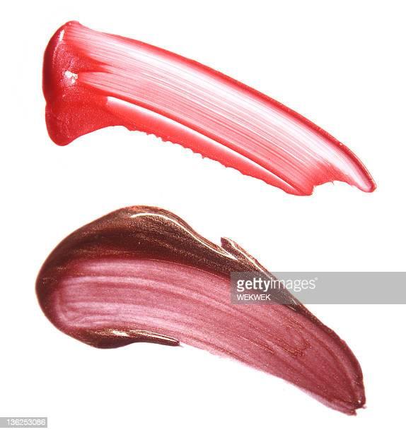 lipgloss smears von - braun stock-fotos und bilder