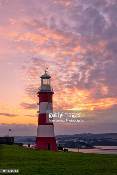 smeaton's tower winter sunrise - ホー ストックフォトと画像