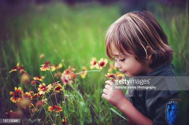 Smelling boy
