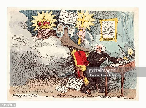 Smelling Out A Rat Or The Atheisticalrevolutionist Disturbed In His Midnight Calculations Engraving 1790 Richard Price Seated At A Desk He Turns To...
