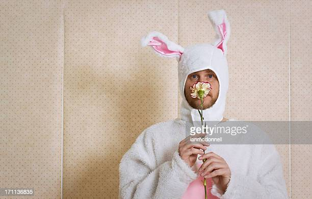 smelling - easter bunny man stock pictures, royalty-free photos & images