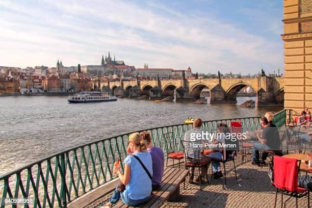 Smetana Quay with Vltava River, Charles Bridge, Hradcany Castle and St. Vitus Cathedral, Prague, Central Bohemia, Czech Republic