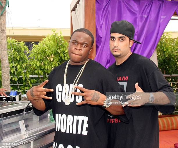 Smiity and Guest during 2005 MTV VMA John Singelton Party Hosted by DJ Biz Markie and Snoop Dogg at Sanctuary Hotel in Miami Florida United States