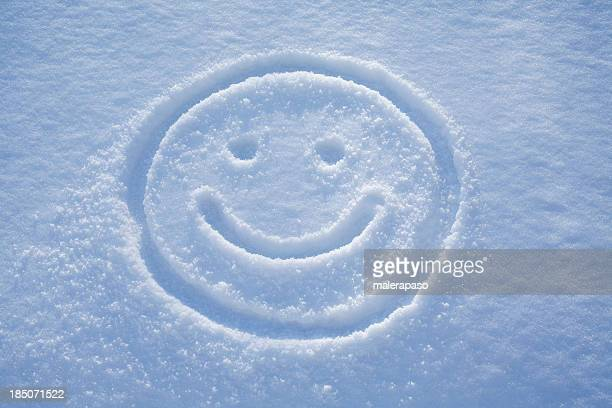 smile. a face drawing in the snow. - smiley face stock pictures, royalty-free photos & images