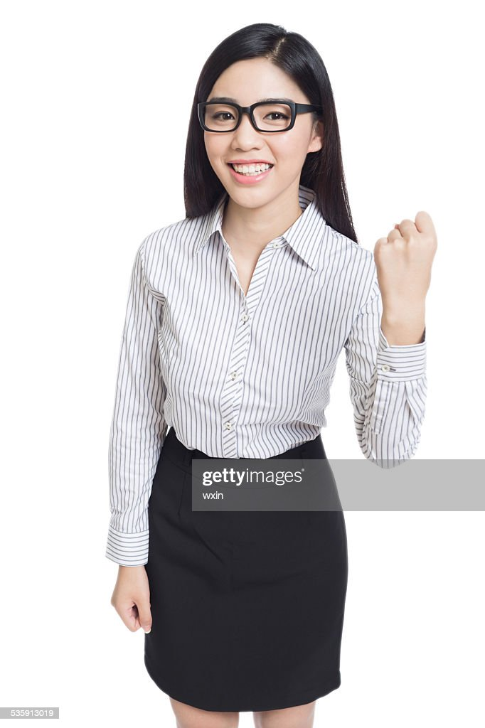 smile business woman show fingers . long hair model isolated . : Stock Photo