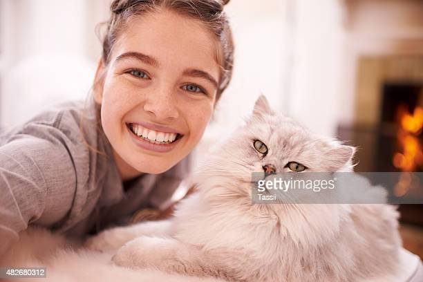 smile for the selfie! - puss pics stock photos and pictures