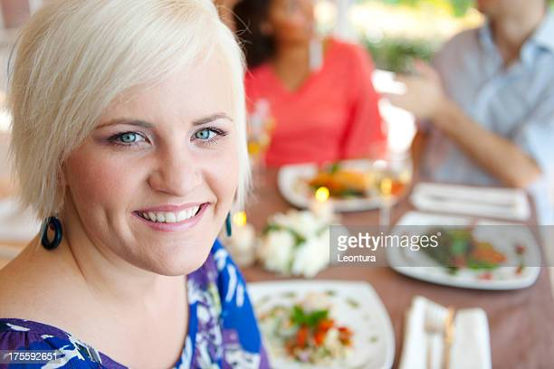 smile - fat blonde women stock photos and pictures