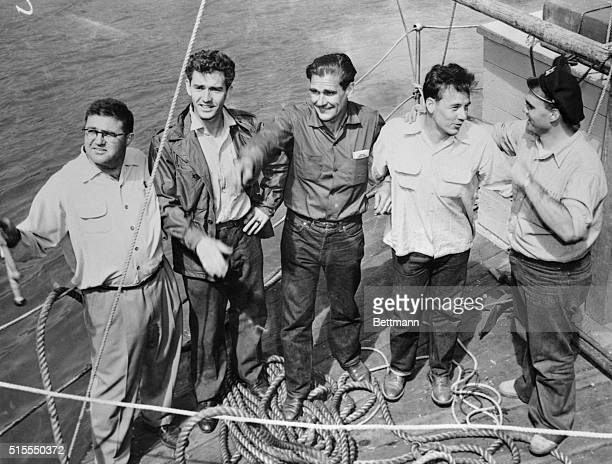 Smiles of confidence light the faces of the crew of the Lehi as they posed just before the raft started on its trip From left Keith Pope Joe Fearon...