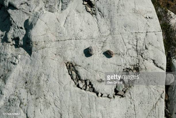 smiley face on stone surface incoast mountains, pemberton, british columbia, canada - pareidolia stock pictures, royalty-free photos & images