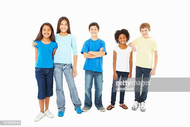smiling adorable kids standing against white - 10 11 jaar stockfoto's en -beelden
