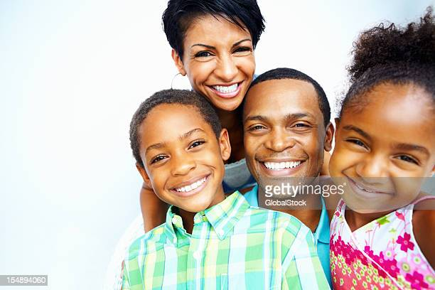 smiling african american family portrait - heterosexual couple stock pictures, royalty-free photos & images