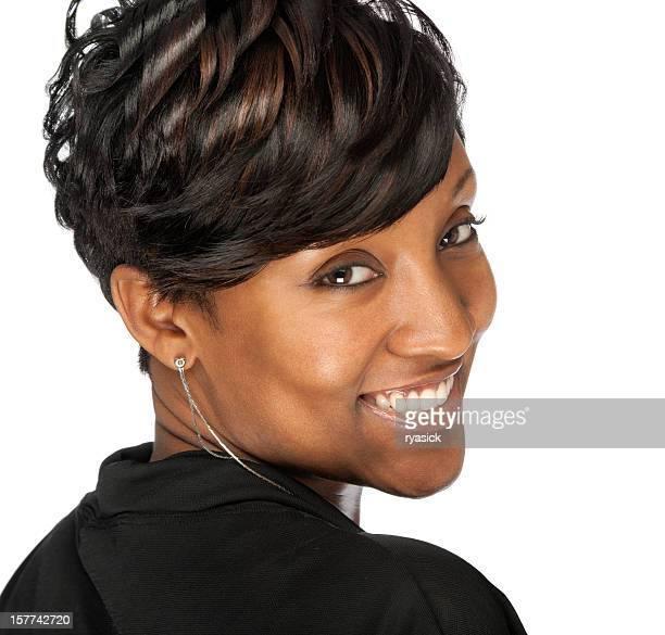 Smiling African American Hair Model Woman Looking Over Shoulder Isolated
