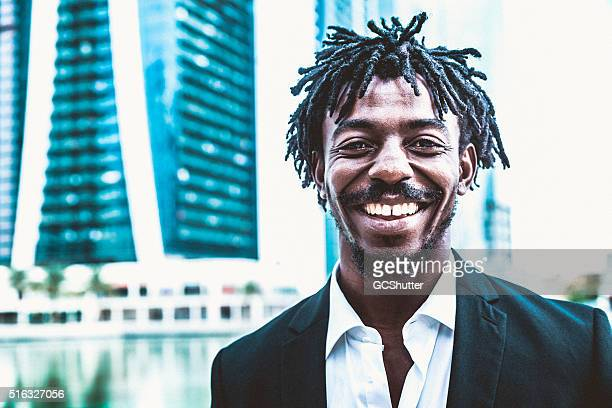 Smiling African-American Businessman in Dubai