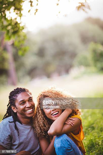 Smiling african-american couple enjoying a day at the park