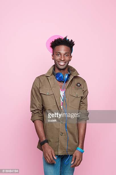 Smiling afro american guy, Studio portrait