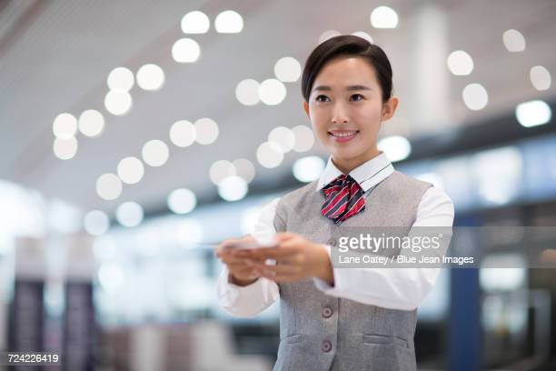Smiling airline stewardess