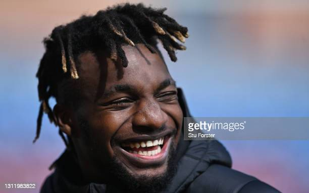 Smiling Allan Saint-Maximin of Newcastle after the Premier League match between Burnley and Newcastle United at Turf Moor on April 11, 2021 in...