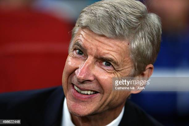 A smiling Arsene Wenger manager of Arsenal before the UEFA Champions League match between Arsenal and Dinamo Zagreb at the Emirates Stadium on...
