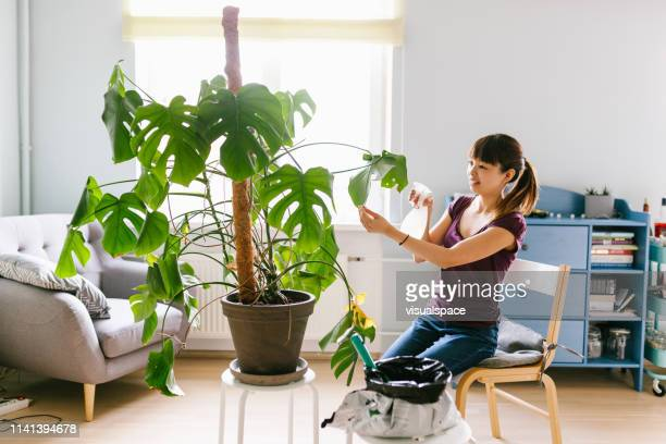笑顔アジアの女性植物に水を噴霧 - 水撒き ストックフォトと画像