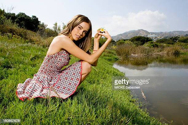 Smiling attitude of Isabel Lucas a young Australian actress of 24 years to the screen in the movie 'Transformers 2 Revenge of the Fallen' by Michael...
