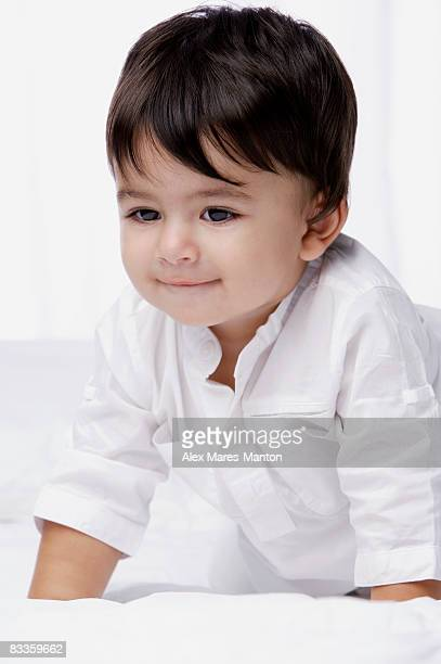 smiling baby boy - indian baby stock photos and pictures