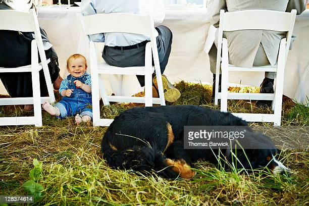 Smiling baby seated on grass dog sleeping nearby