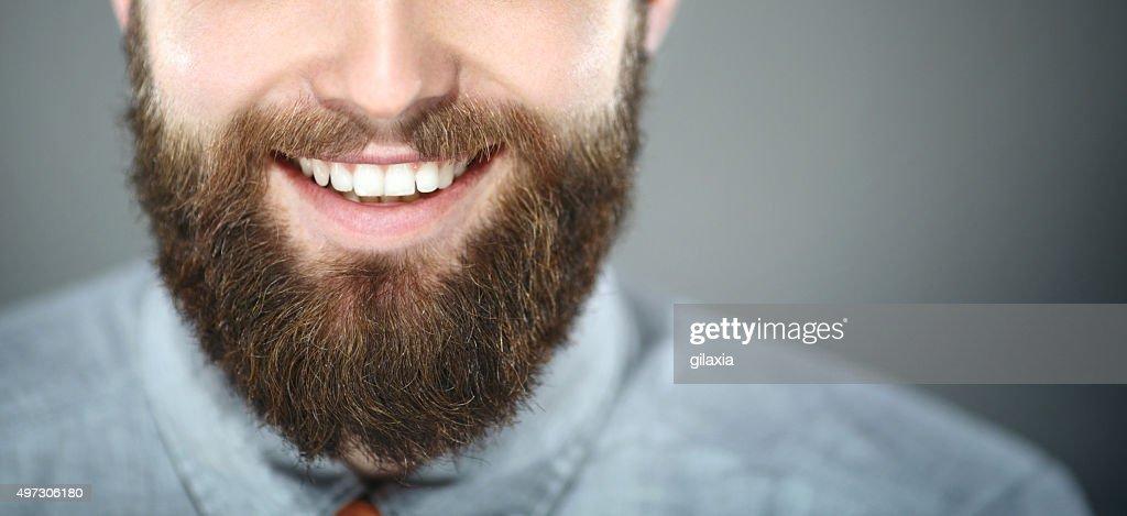 Lächeln, bärtiger Mann. : Stock-Foto