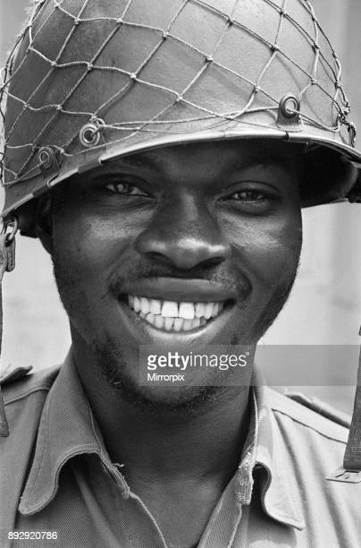 A smiling Biafran soldier seen here during the Biafran conlict 11th June 1968