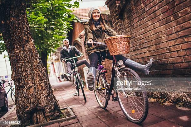 Smiling bike riders