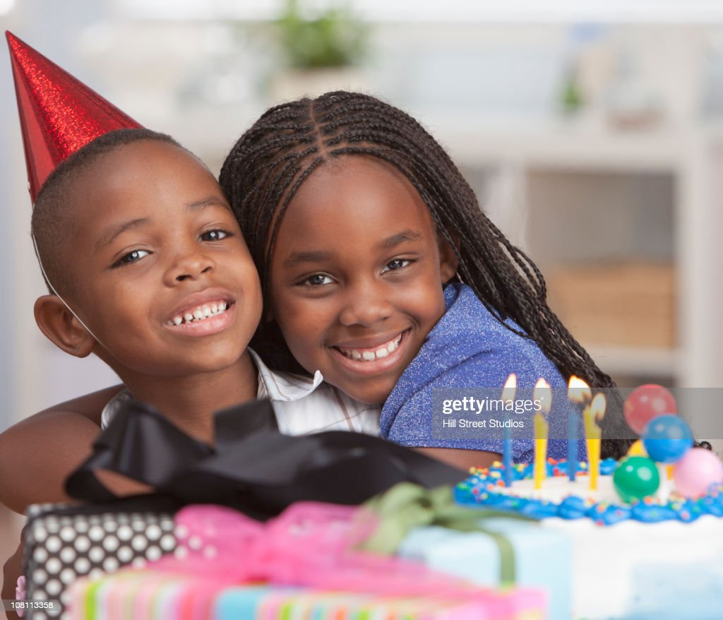 Picture For Brother Sister: Smiling Black Brother And Sister Hugging Near Birthday