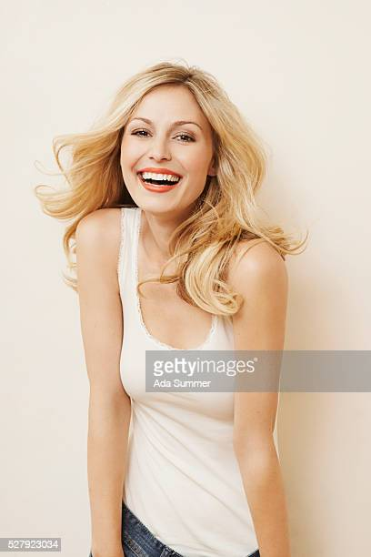 smiling blond woman - hair colour stock pictures, royalty-free photos & images