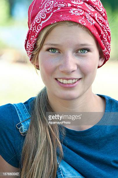 Smiling blonde teen girl with red bandana - I