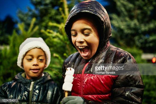 smiling boy about to eat snowman shaped marshmallow while shopping for christmas tree - naughty america stock pictures, royalty-free photos & images