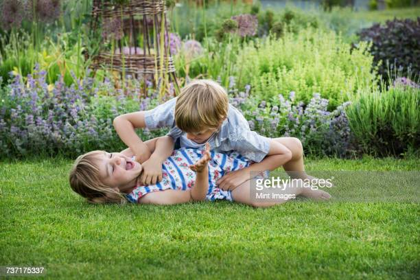 Smiling boy and girl in a garden, roughhousing, playing together, playfighting on a lawn.