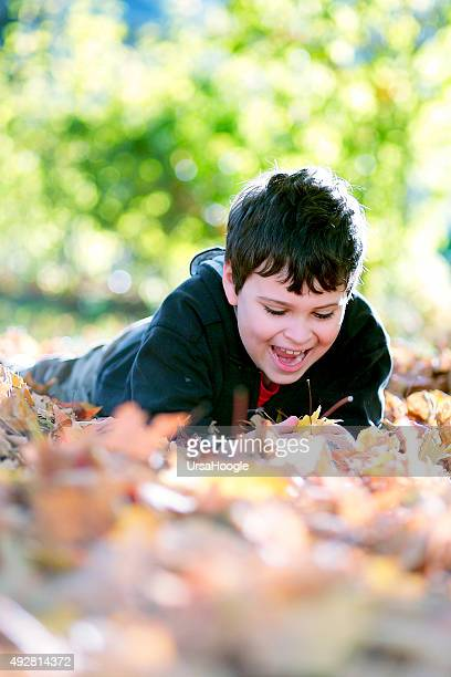 Smiling boy looking at autumn leaves