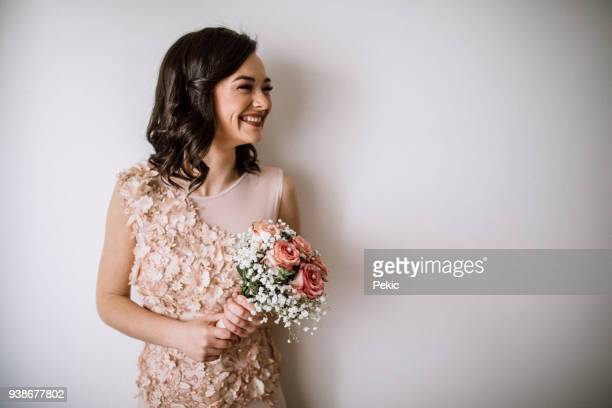smiling bride - lace dress stock pictures, royalty-free photos & images
