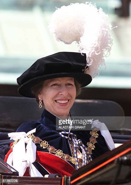 A smiling British Princess Royal leaves the annual Garter ceremony by carridge at Windsor Castle Monday 18 June 2001 The Most Nobel Order of the...
