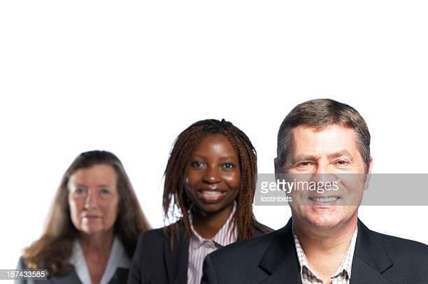 Souriant Homme d'affaires et son équipe