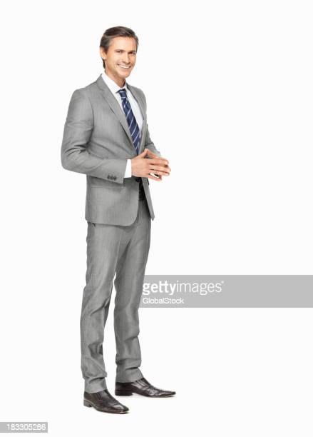 Lächelnd business Mann Gestikulieren