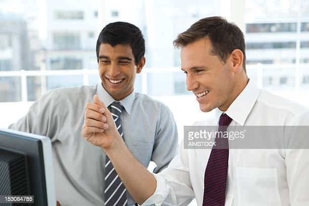 Smiling business partners