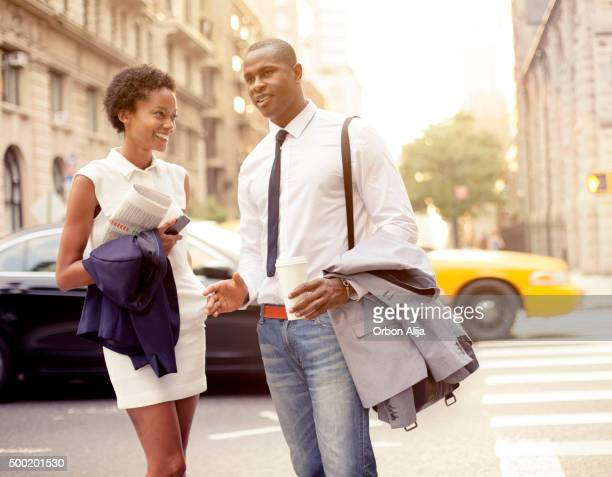 Smiling businessman and businesswoman  in New York