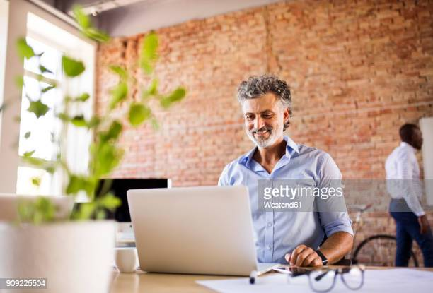Smiling businessman using laptop in office with colleague in background