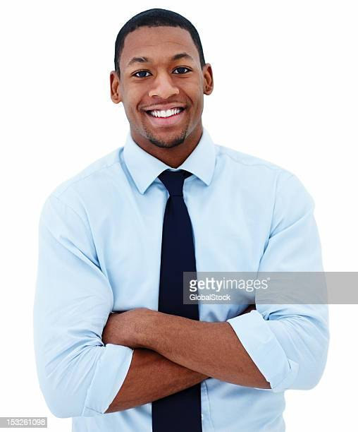 smiling businessman with arms folded on white background - white background stock pictures, royalty-free photos & images