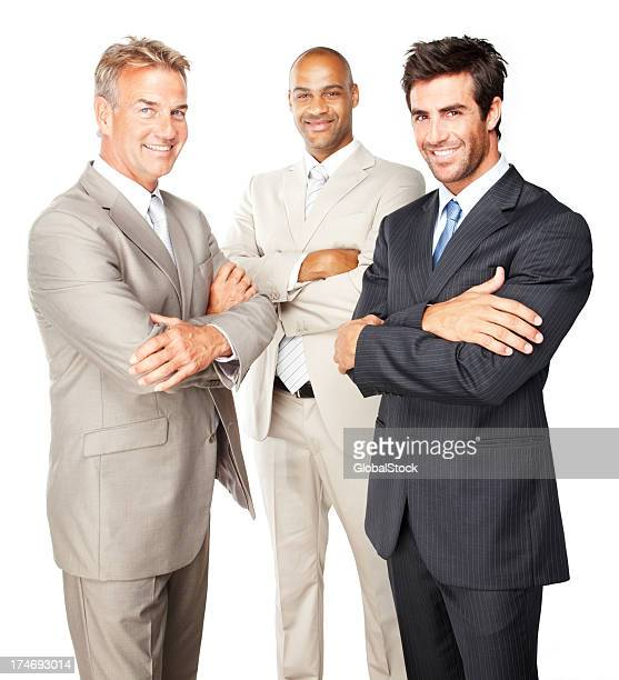 Smiling businessmen standing together