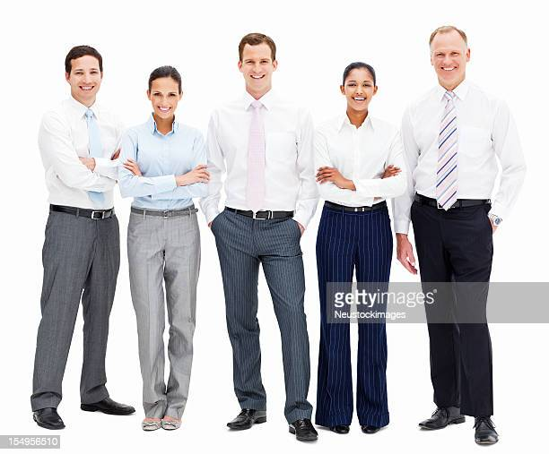 smiling businesspeople - isolated - five people stock pictures, royalty-free photos & images