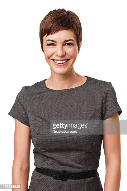 Smiling Businesswoman in Gray Dress Isolated on White