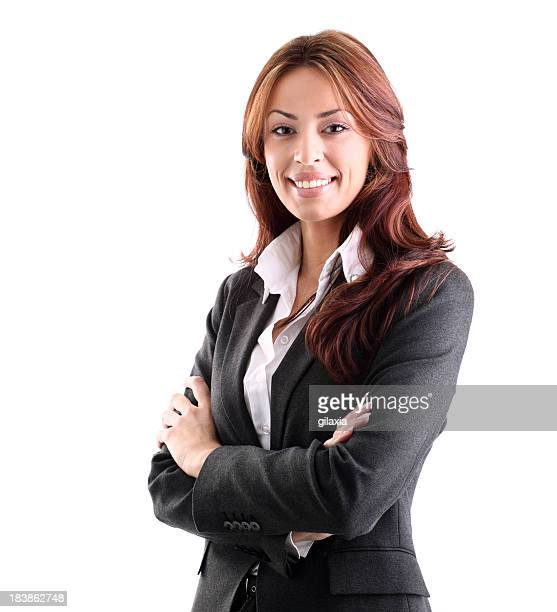 Smiling businesswoman on white