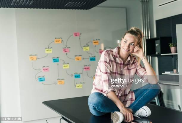 smiling businesswoman sitting on table in office with mind map in background - schottenkaro stock-fotos und bilder