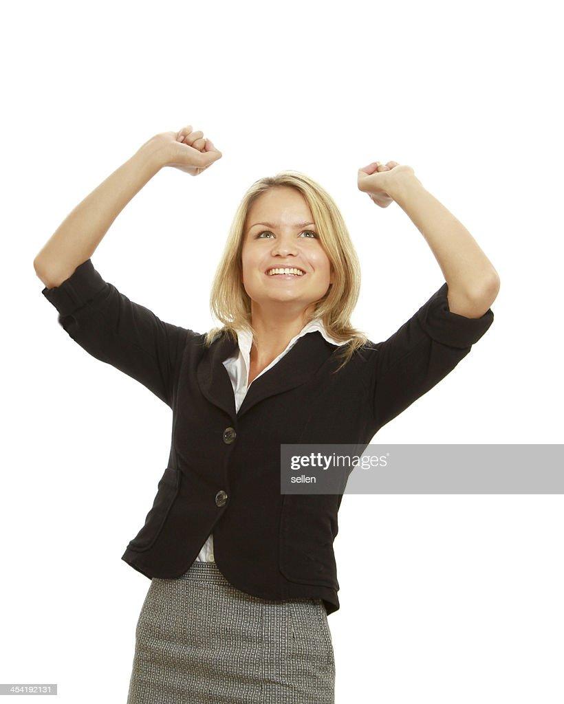 Sonriente mujer de negocios con las manos arriba : Foto de stock