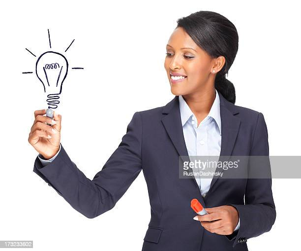 Smiling businesswoman with idea.